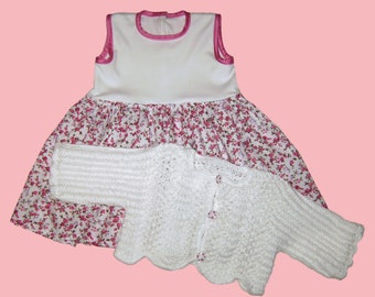 8d7d3b32682 Baby Dress + Bolero jacket gr 74 80 pink white roses handmade girls dress +  jacket for 9-12 month white pink roses