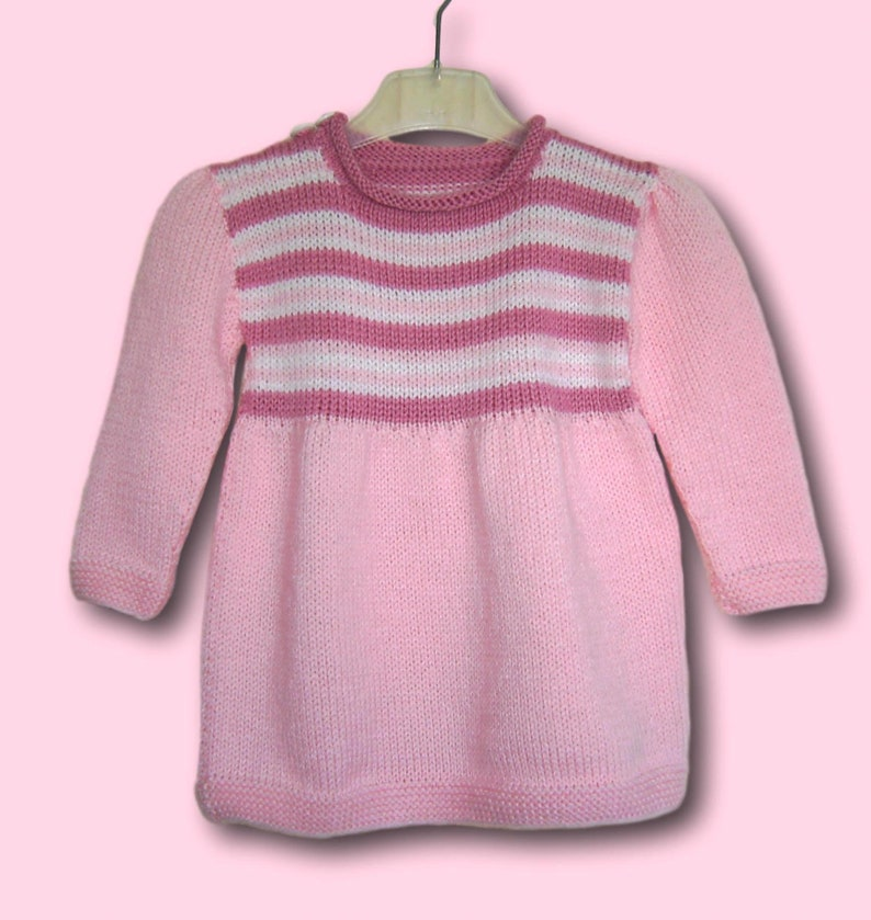 94681447438b Baby Dress Knit Dress GR 68 74 pink striped handmade baby | Etsy