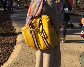 6ffc6c4c13873 Damen Rucksack Tragerücksack Leder gelb Handtasche neu 2 in 1