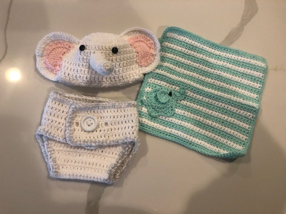 Newborn Baby Girl Elephant Hat with Matching Diaper Cover Set ... | 428x570