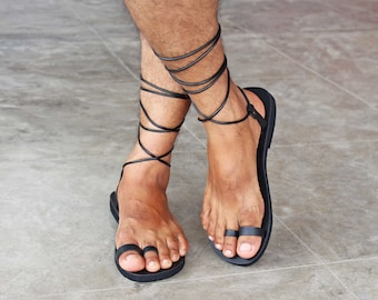 Greek Roman Men Sandals/ Second Toe Ring Leather Sandals/ Gay Lace Up Sandals - Indigo M