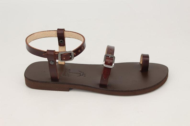 Toe Ring DREBRE ankle strap leather sandals