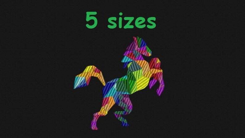 Mosaic stained glass stallion embroidery Rainbow horse design on t-shirt Patrick/'s day present St Horse design machine embroidery