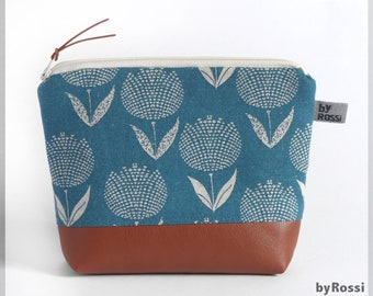 Cosmetic bag M, Japanese fabric in turquoise with flowers, tulips and faux leather below, great for the handbag