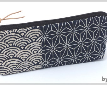 Make-up bag/ pencil case made of Japanese fabrics in blue with asanoha pattern and waves. Classically beautiful. Great also for men