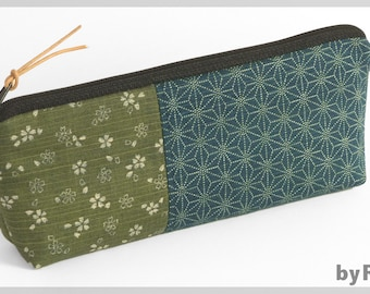 Make-up bag / pencil case made of Japanese fabrics green and petrol. To put down. Nice gift