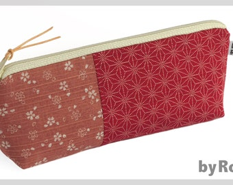 Make-up bag / pencil case made of Japanese fabrics in red and old pink, beautiful gift for women