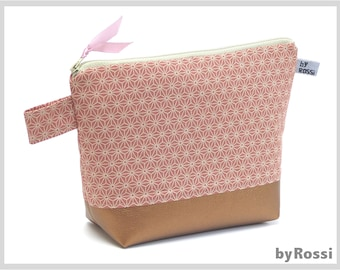 Cosmetic bag L, toiletry bag made of pink Japanese fabric with star pattern and artificial leather, great also as a diaper bag, gift for birth