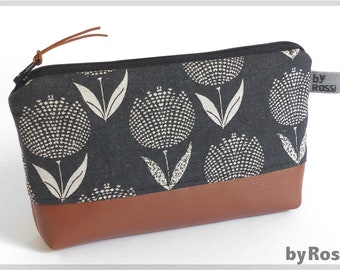 Pencil pocases / make-up bags in dark grey Japanese fabric with tulips and faux leather floor, beautiful gift also for men