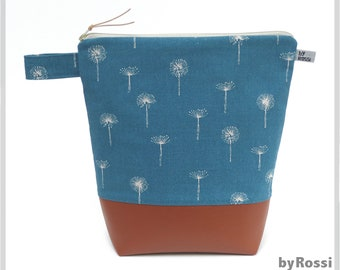 Very large toiletry bag in XXL in Japanese fabric with puff flowers in turquoise/petrol blue with wax cloth inside and two inner pockets
