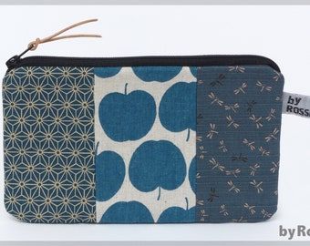 Universal bag/make-up bag made of Japanese fabrics, with apples, great gift, very individual