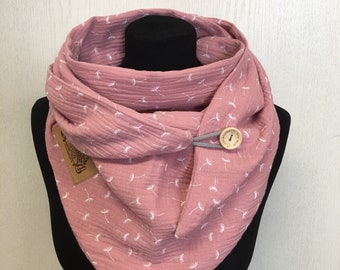Cloth Dandelion Muslin Pink with Button by delimade Gift Mother's Day Towels Triangular Cloth Ladies Wrap Scarf Triangle