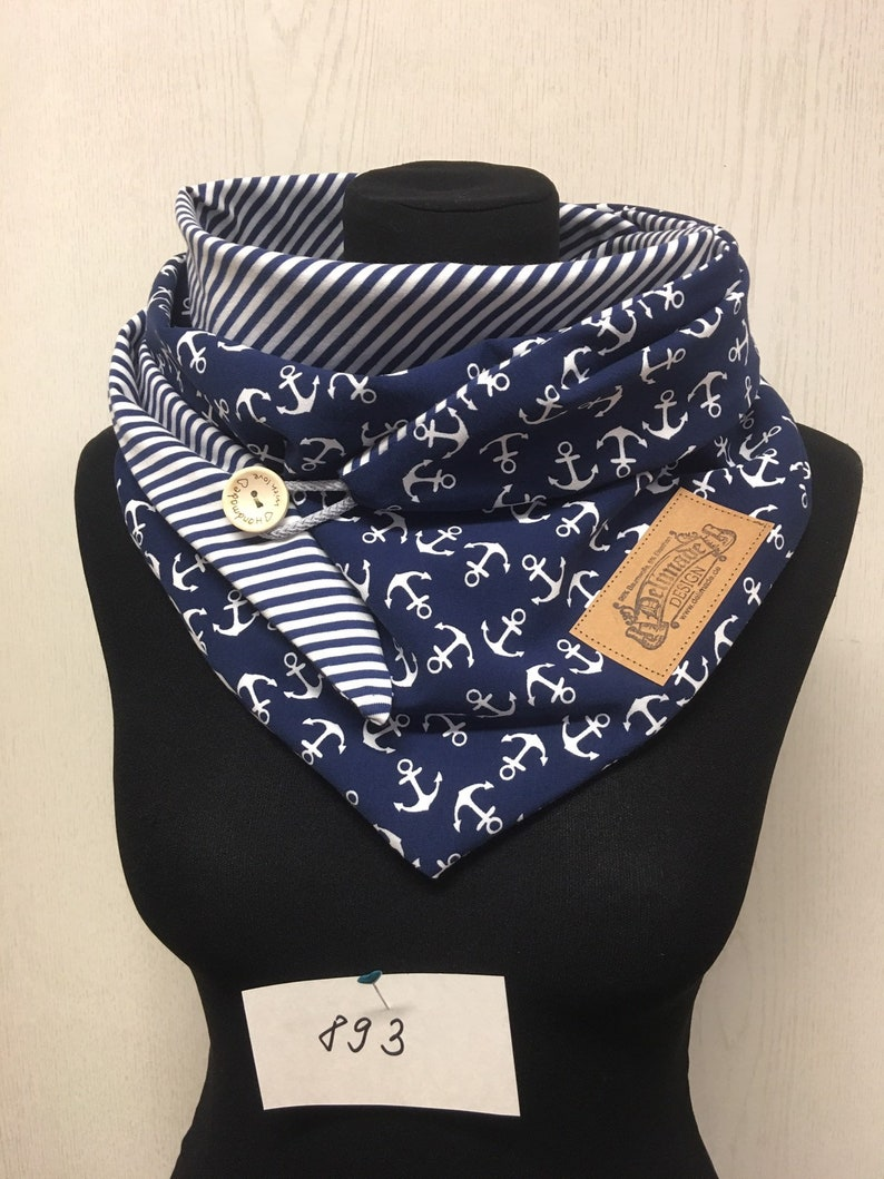 Cloth Anchor Blue with Button Wrap Scarf Maritim by Delimade Gift Mother/'s Day