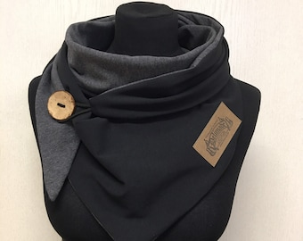 Wrap scarf black grey with button /cloth with button triangular cloth ladies by delimade gift Mother's Day
