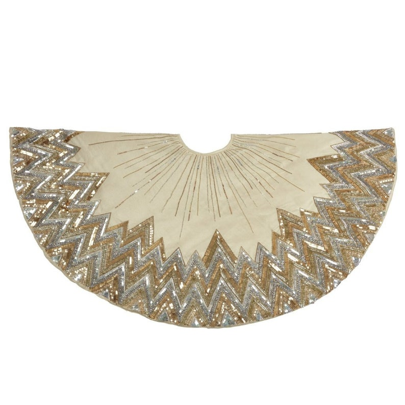 60 Handmade Christmas Tree Skirt Hand Beaded Metallic Starburst on Ivory