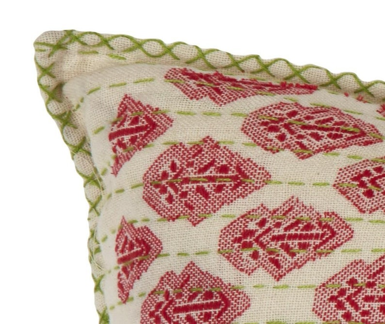 Artisan Hand Loomed Cotton Lumbar Pillow 16x48 Red with Green Stitching