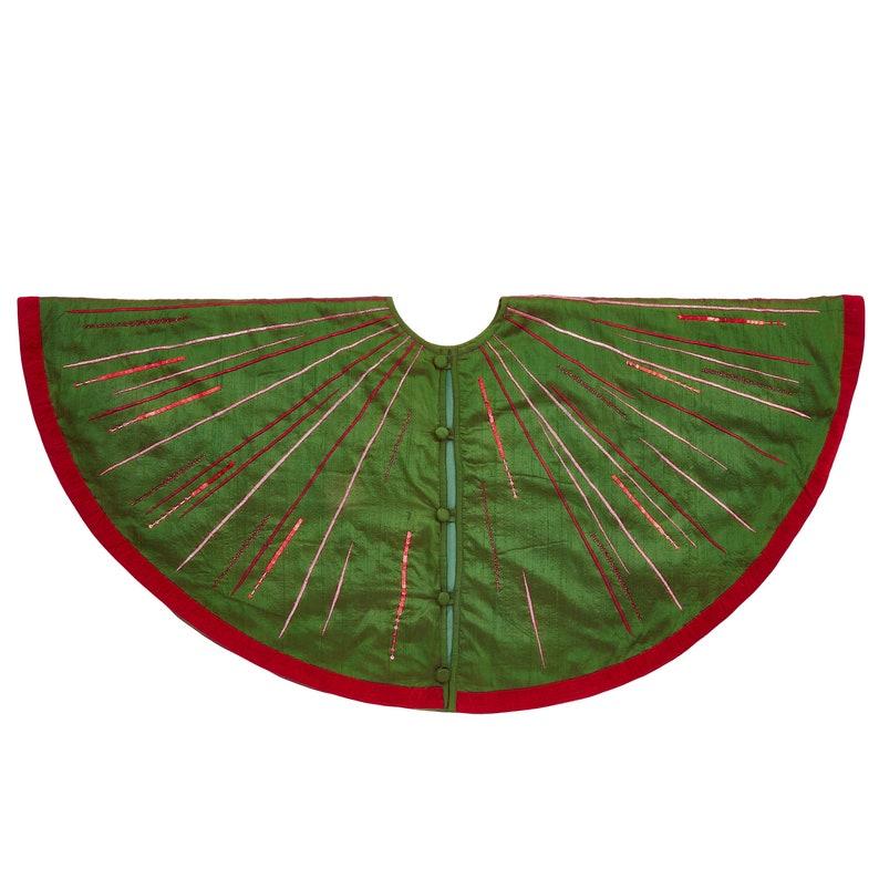 60 Hand Beaded Starburst Christmas Tree Skirt in Green Silk