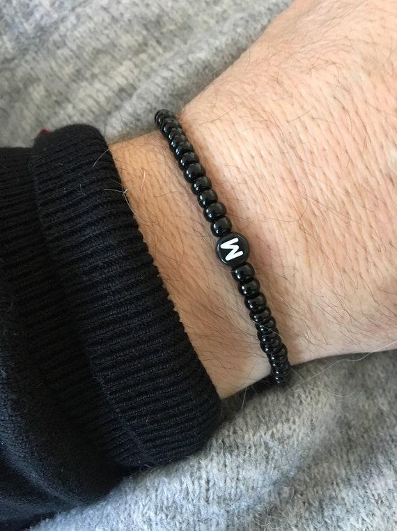 Neuestes Design Geschäft laest technology ARMBAND für Männer Buchstabe Initiale schwarz