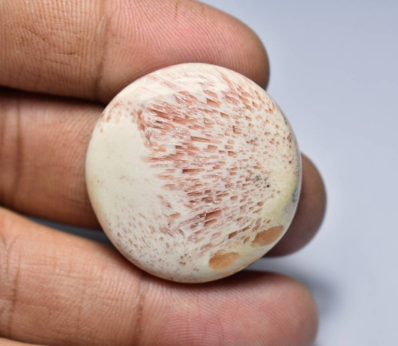 A#9183 Pink scolecite round cabochon...33x6mm....44CTS..