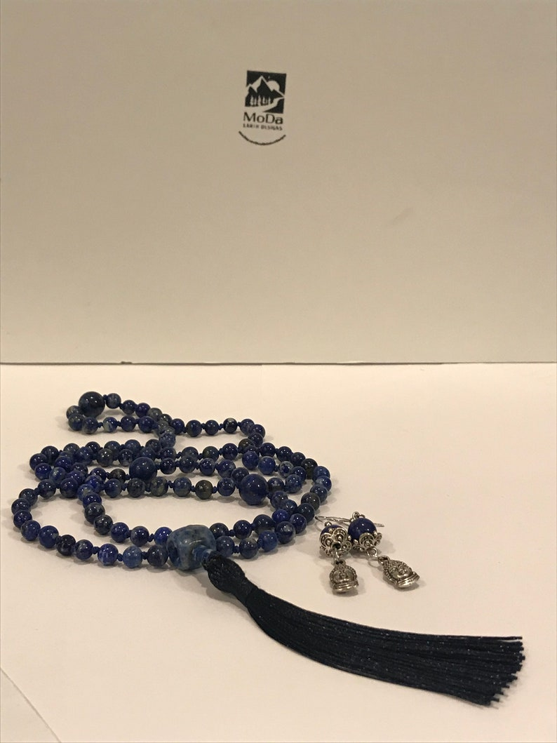 Or choose a different charm Calming Lapis Lazuli /& Sodalite Mala Necklace with FREE Little Buddha Earrings
