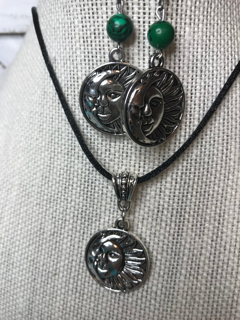 Sun /& Moon Necklace and Malachite Beaded Earrings on soft silk cord!