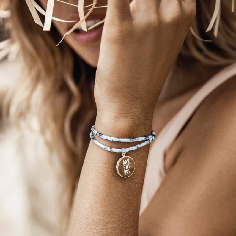 Double string Lycra Bracelet  with Driftwood /'Adventure/' Charm summer surfer travel jewelry