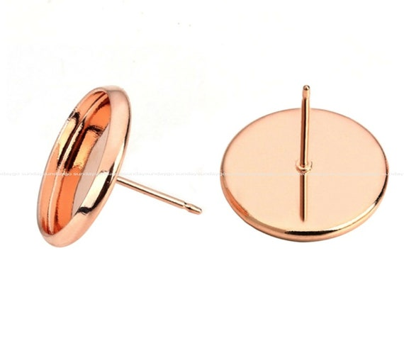 12mm 20pcs Rose Gold Plated Earring Studs Blank//Base