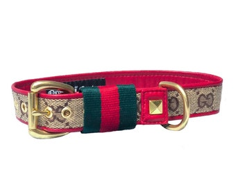 297460f5eaa Red and Green Stripe Designer Dog Collar