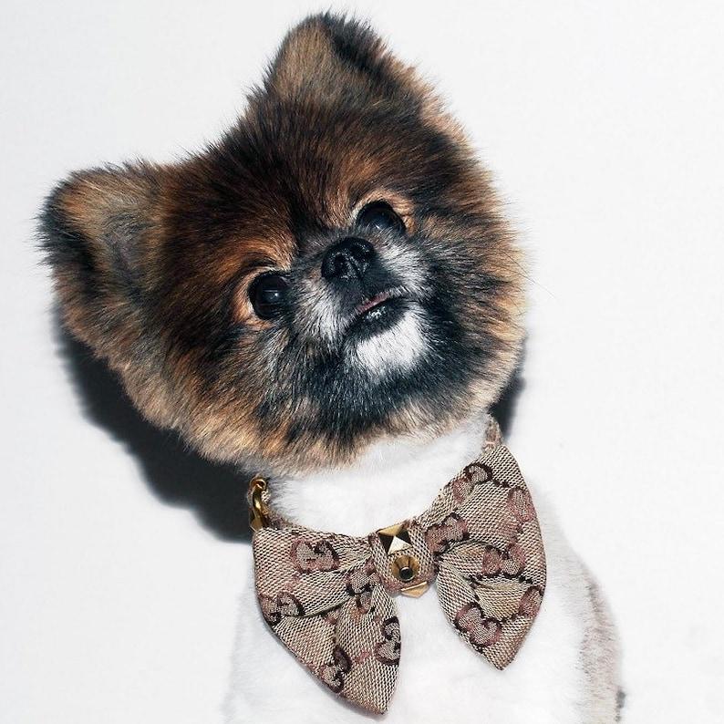 de4341393 Designer Monogram Luxury Dog Bow Tie Collar | Etsy