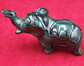 3 Inch Malachite Polished Crystal Carved Elephant