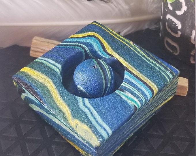 Contemporary Incense Burner Blue Swirl INC4