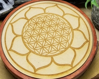 Wooden Crystal Grid W/flower Of Life Within A Lotus