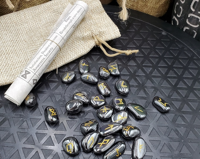 Hematite Runestone Set