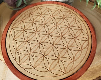 Wooden Crystal Grid featuring The Flower of Life