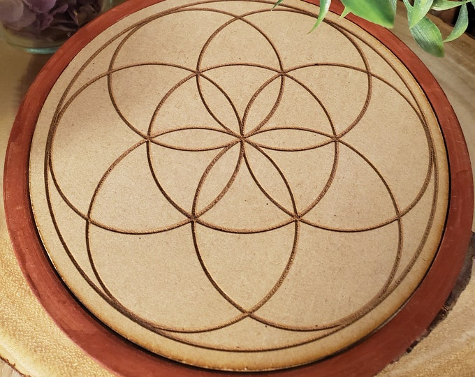 Wooden Crystal Grid featuring The Seed of LIfe