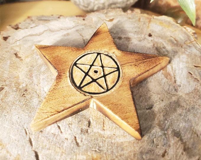Wooden Incense Burner featuring a Pentagram