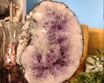 Polished Amethyst Geode Slice on Iron Stand