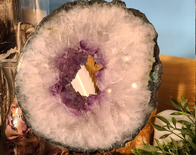 Polished Amethyst Geode Slice on a Iron Stand