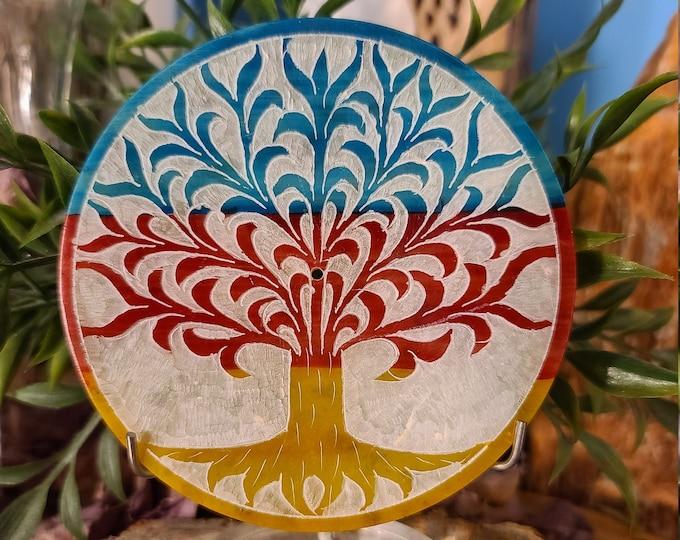 Round Soapstone Incense Burner/Tree of Life