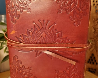 Lotus Flower Leather Journal w/strap