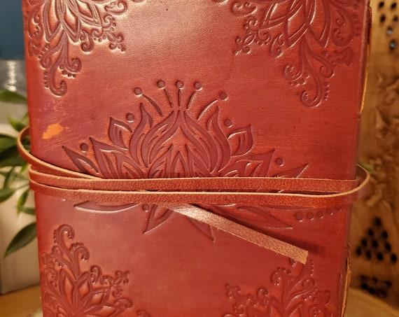 Lotus Flower Leather Journal w/strap