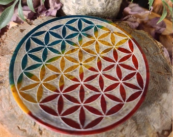 Soapstone Round Incense Holder/Flower of Life