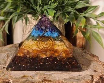 7 Chakra Orgone Pyramid w/Copper Spiral
