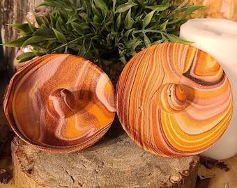 Contemporary Stick Incense Burner/Round/Orange Swirl