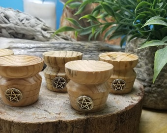 Wooden Pedestal Sphere Stand W/pentacle