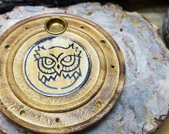 Wooden Incense Burner W/engraved Owl