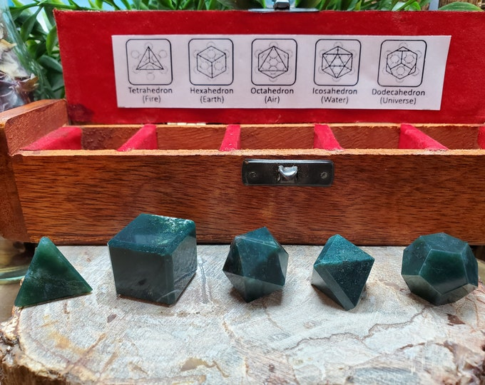 Bloodstone Platonic Solid 5 Piece Set