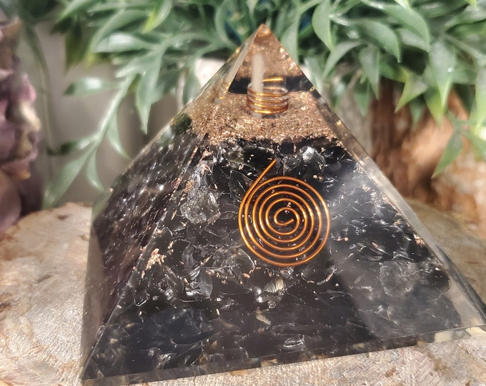 Orgone Black Tourmaline Pyramid with Copper Spiral and Coil