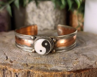 Brass and Copper Yin/Yang Bracelet