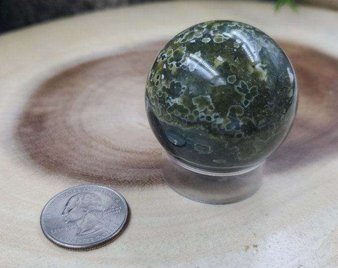 Ocean Jasper Sphere, 43 mm in Diameter, Weighs 112 grams
